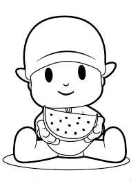 Pocoyo Eating Slice Of Watermelon Coloring Page