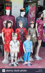 mannequins wearing chinese clothes chinatown la stock photo