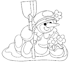 Snowman Mop Flowers 14 Coloring Pages