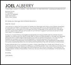 Distribution Manager Cover Letter Sample