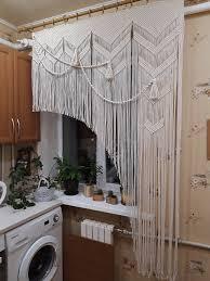 makramee vorhang küche fenster valance kurze tür vorhang asymmetrische seil vorhang natürliche weiße boho dekor boho haus rustikale fenster dekor
