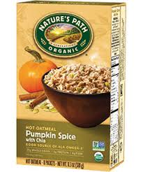 Pumpkin Flaxseed Granola Nutrition Info by Nature U0027s Path Pumpkin Spice With Chia Oatmeal 11 3 Oz Box