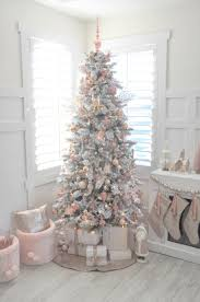 Blush Pink And White Flocked Vintage Inspired Christmas Tree By Karas Party Ideas