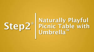 naturally playful picnic table with umbrella step2