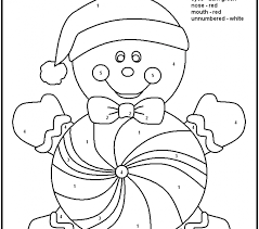 Christmas Coloring Pages With Color Numbers Number Easy Free Printable