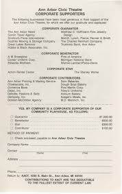 Village Pizzeria Dresser Wi Menu by Ann Arbor Civic Theatre Program Play It Again Sam June 14 1989