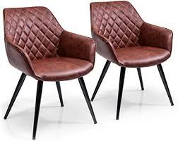 kare design armlehnstuhl harry 2er set gepolsterter bequemer esszimmerstuhl im retro design braun h b t 84x60x63cm