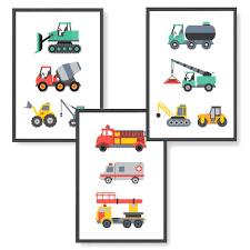 himmelzucker premium 3er poster set für kinderzimmer babyzimmer din a4 wandbilder deko junge mädchen dekoration bilder kinder autos fahrzeuge