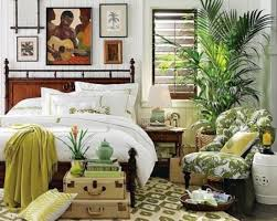 Tropical Bedroom Designs With White Green Bed Pillow Blanket