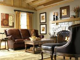 Country Living Room Furniture Ideas Style Leather Sofa Fireplace Rustic