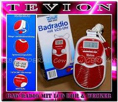 magnum bdr200 wasserfestes bad radio wand dusch radio lcd uhr alarm rot weis ebay
