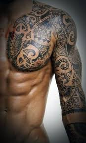 Wonderful Aztec Tribal Tattoo On Left Chest And Full Sleeve
