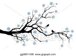 Vector Stock Winter tree with snowflakes and birds vector background Clipart Illustration gg