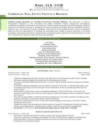 Investment Executive Summary Sample Real Estate Resume Commercial Portfolio Manager After 1 Examples Template