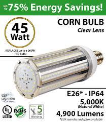 200w hid led equivalent bulb 45 watt corn 4900 lumens 5000k