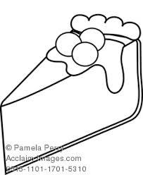 Clip Art Illustration of a Cherry Cheesecake Coloring Page