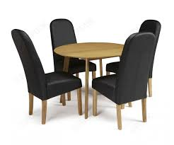 Serene Croydon Oak Round Dining Set With 4 Marlow Black Faux Leather Chairs  - 100cm FDUK BEST PRICE GUARANTEE WE WILL BEAT OUR COMPETITORS PRICE! Give  ...