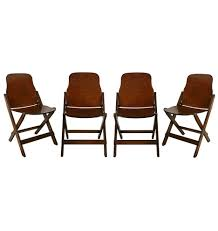 Set Of 4 American Seating Company Folding Chairs C1941 ... Fasteners Beach Chair Recling Arm Mechanism Woodworking Stack Outdoor Expressions Galveston Rocking Chair Rts005c Wabash Hdware Old Antique Solid Wood Folding With Curved Legs Forged Iron Seat Pew Early Ladder Stool Kitchen High Creative Portable Intertional Home Utuba Solid Eucalyptus Wood Buy Invisible Qbo White Colour In India From Benzoville Gymax Foldable Professional Artist Directors Light Pair Of Handstitched Chairs Brass Gtlemens Quarters Vintage Upcycled Leather Set 4 Midcentury Victorian Recling