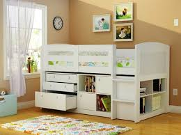 White twin storage beds for kids with drawer