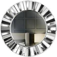 graue wand runder spiegel gespiegeltes 3d glas wohnzimmer