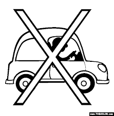 No Cars Less Pollution Coloring Page
