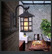 Vintage Rustic Iron Waterproof Wall Lamp Kerosene Lantern Light Rusty Matte Corridor For Doorway Gate Hallway