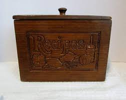 Recipe Box Wood Holder 70s Wooden With Lid Recipes