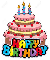 Happy birthday sign with cake illustration Stock Vector