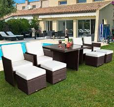 patio sofa dining set outsunny outdoor 9pc rattan wicker sofa dining table sectional