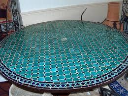 table ronde mosaique fer forge table zellige mosaique pied fer forgé