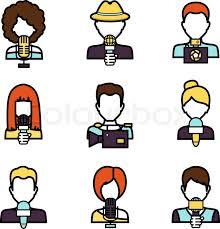 Journalist Avatar Mass Media News Reporter Characters Set Isolated Vector Illustration
