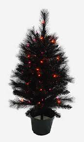 3 Black Halloween Table Tree With Orange And Purple Lights