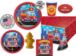 100 Fire Truck Birthday Party FLAMING FIRETRUCK For 16 W Candle Plates Napkins Cups Yellow