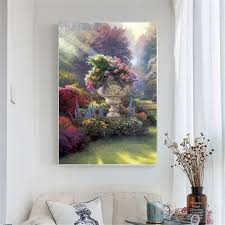 Abstract Oil Painting On Canvas Pink Flowers Posters And Prints Garden Decoration Wall Pictures Living Room Decoration Pop Art