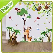 stickers jungle chambre bébé monkey giraffe height chart wall stickers jungle nursery