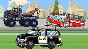 Tow Truck Cartoon For Children : Police Car, Fire Truck - Service ...