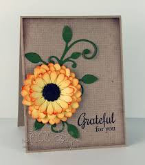 Finished Handmade Thank You Card With Paper Flowers