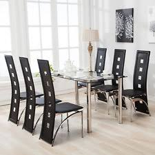 7 Piece Dining Table Set And 6 Chairs Black Glass Metal Kitchen Room Breakfast