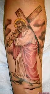 Jesus With Cross On Shoulder Color Ink Tattoo