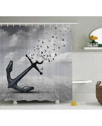 Shower Curtain Flying Seagulls Grey Print For Bathroom