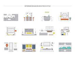 innenarchitektur im hightech stil hauptdesignvektorsammlung moderne minimalistische haus designs küche wohnzimmer schlafzimmer bad