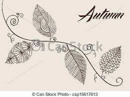 Vintage Fall Season position Hand Drawn Curl Tree Branches And Leaves Background Eps10 Vector