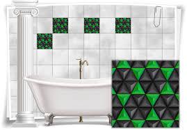 fliesen aufkleber bild mosaik kachel grün schwarz retro dreiecke bad wc deko