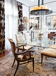 Dining Room Chairs Were Upholstered In A Combination Of Leather And Brown Print Reversed On The Armchairs Accent Stripes Square Mirrors Create