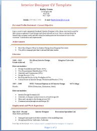 Cv For Interior Designer Fresher interior design resume sample