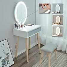 artethys modern schminktisch led beleuchtung kosmetiktisch mit hocker frisiertisch mit spiege schubladen für make up tisch mädchen schlafzimmer