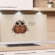 grazdesign küchenrückwand küche glas bild spritzschutz herd braun hellbraun bildmotiv der frühe vogel braucht viel kaffee 60x60cm