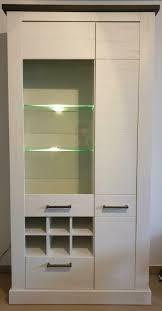 vitrine geschirrschrank esszimmer wohnzimmer schrank pinie weiß