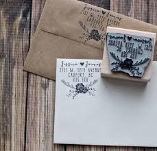 Rustic Wedding Stamp Deer Antler Return Address Rubber Invitation Save The Date