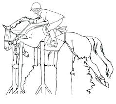 Horse Coloring Pages Realistic Jumping Printable